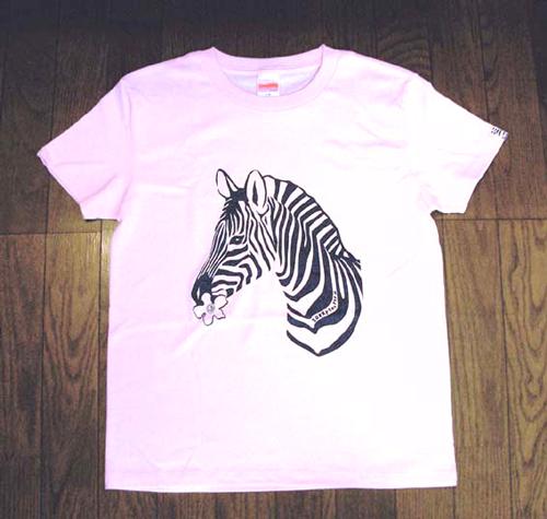 シマウマTシャツ レディース ライトピンク