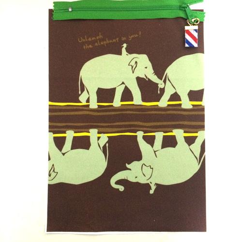 ミニポーチ ゾウ新作茶系